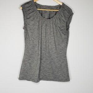 loft gray & black blouse
